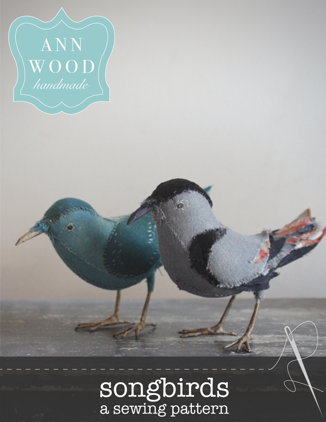 sewing pattern for a textile songbird