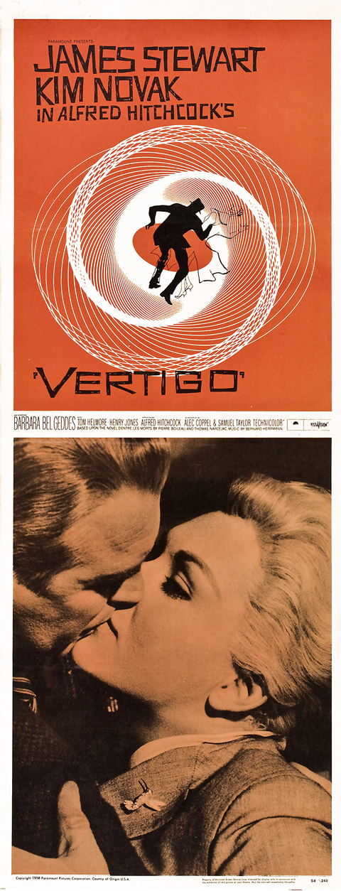 Saul Bass insert Vertigo movie poster