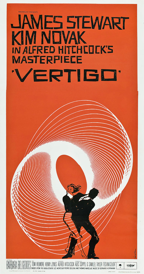 Saul Bass three sheet Vertigo movie poster
