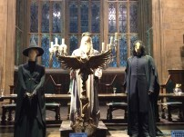 Dumbledore, McGonagall, and Snape at the front of the Great Hall. The other professors were also featured, in front of their places at the head table.