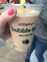 "Otherwise known as ""boba tea"" ... I got the original flavor, so it was like a creamy black tea with large tapioca balls on the bottom."