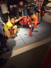 Spiderman (poor guy, so many snot nosed kids jumping on him)