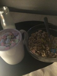 My cereal cocktail of Lucky Charms and Frosted Flakes.