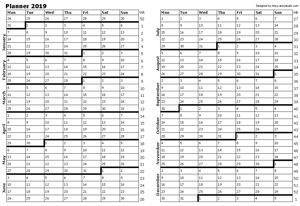 2019 Printable Daily Planners