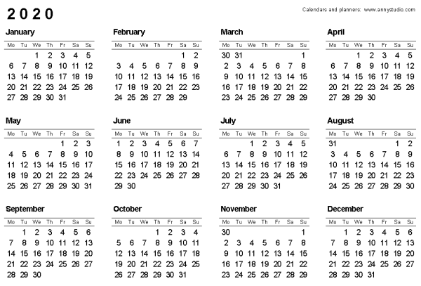 25+ 2020 Yearly Calendar Landscape Printable Pictures and