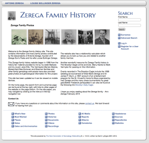 screenshot of Zerega Family History Site
