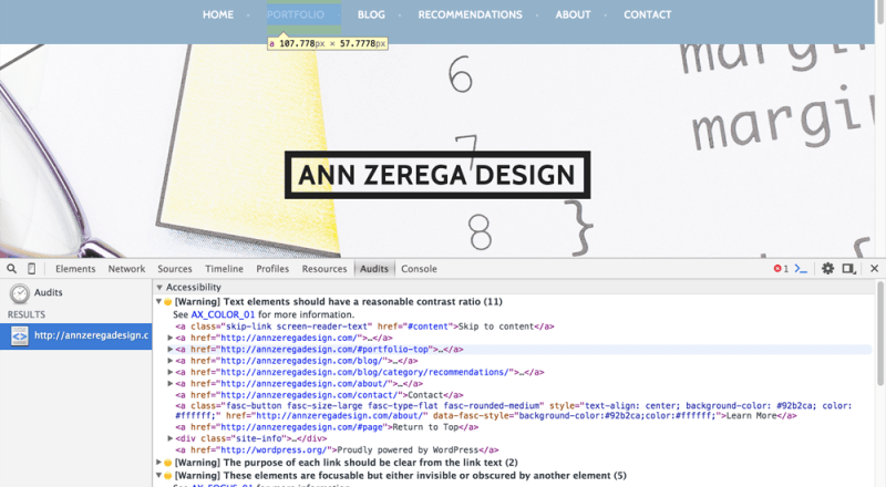 """photo of Ann Zerega """"Before"""" Design Homepage showing Chrome Accessibility Audit Tool"""