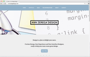 photo of Ann Zerega Design Home Page before Contrast Update