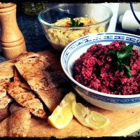 Beetroot and Walnut Paté with Baked Pita Crisps (and Homemade Hummus)