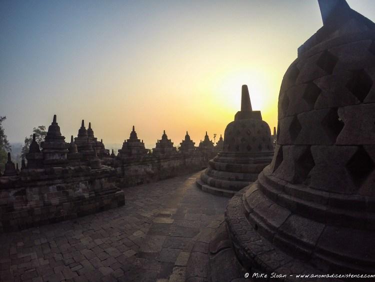 Stunning - sunrise atop Borobudur Temple.