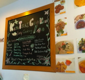 The menu at Kata Thai Cooking - all these dishes are available to learn in class!