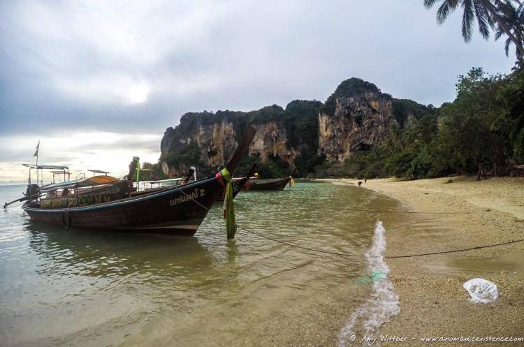 Long tail boats on Ton Sai Beach, Krabi.