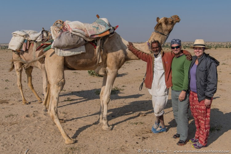 Aibie our camel guide with Mahindra and Poppaya, our camels.