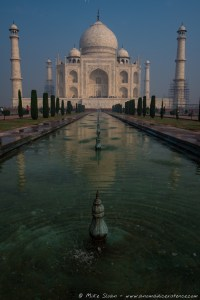 The Reflection Pool leading towards the Taj Mahal.