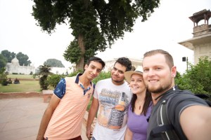Selfie with locals in Delhi, India