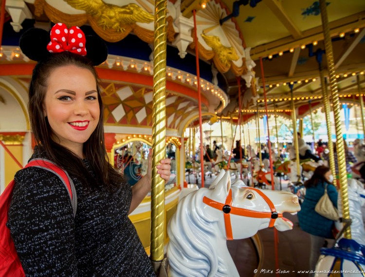 Living a childhood dream of riding on the carousel at Disneyland!