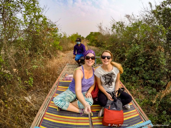 Amy & Alecia, Battambang Bamboo Train, Cambodia.
