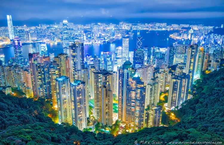 The four hour wait to get this photo was TOTALLY worth it. It's one of our favourites to date. Hong Kong city skyline from Sky Terrace 428.