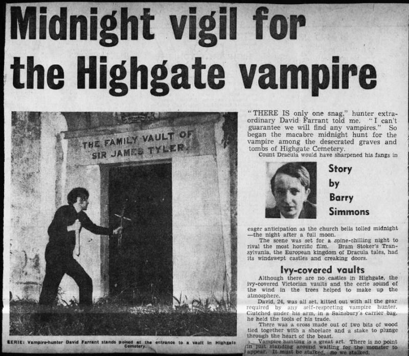"""""""Veillée de minuit pour le vampire de Highgate"""" Evening News 16 10 1970, partie 1"""