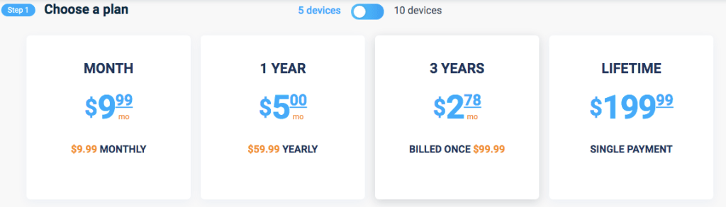 VPN Unlimited 5-device Pricing