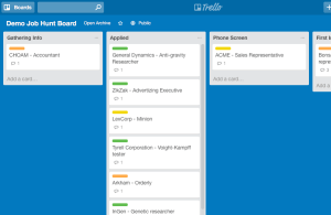 Demo Job Hunt Trello Board