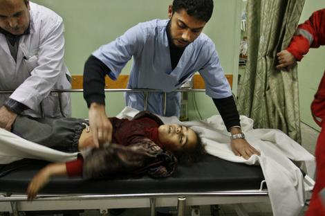 A young Palestinian girl killed in an Israeli army operation at Kamal Adwan Hospital, in Beit Lahiya, northern Gaza Strip.