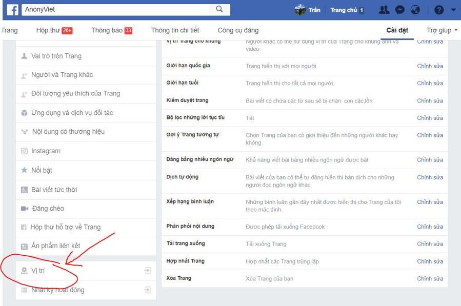 Tiếp tục truy cầu vào phần Cài đặt của Page để cấu hình vị trí cho các Page con của bạn. Cái này bạn tự tìm hiểu nhé. Tags: Facebooktạo ...