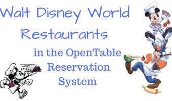 Walt Disney World Restaurants in the OpenTable Reservation System