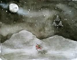 legend of zelda monochrome watercolor painting
