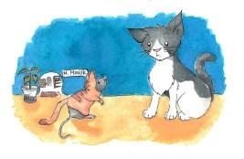 hallow kitty cat mouse watercolor sketch irene park an opus per diem
