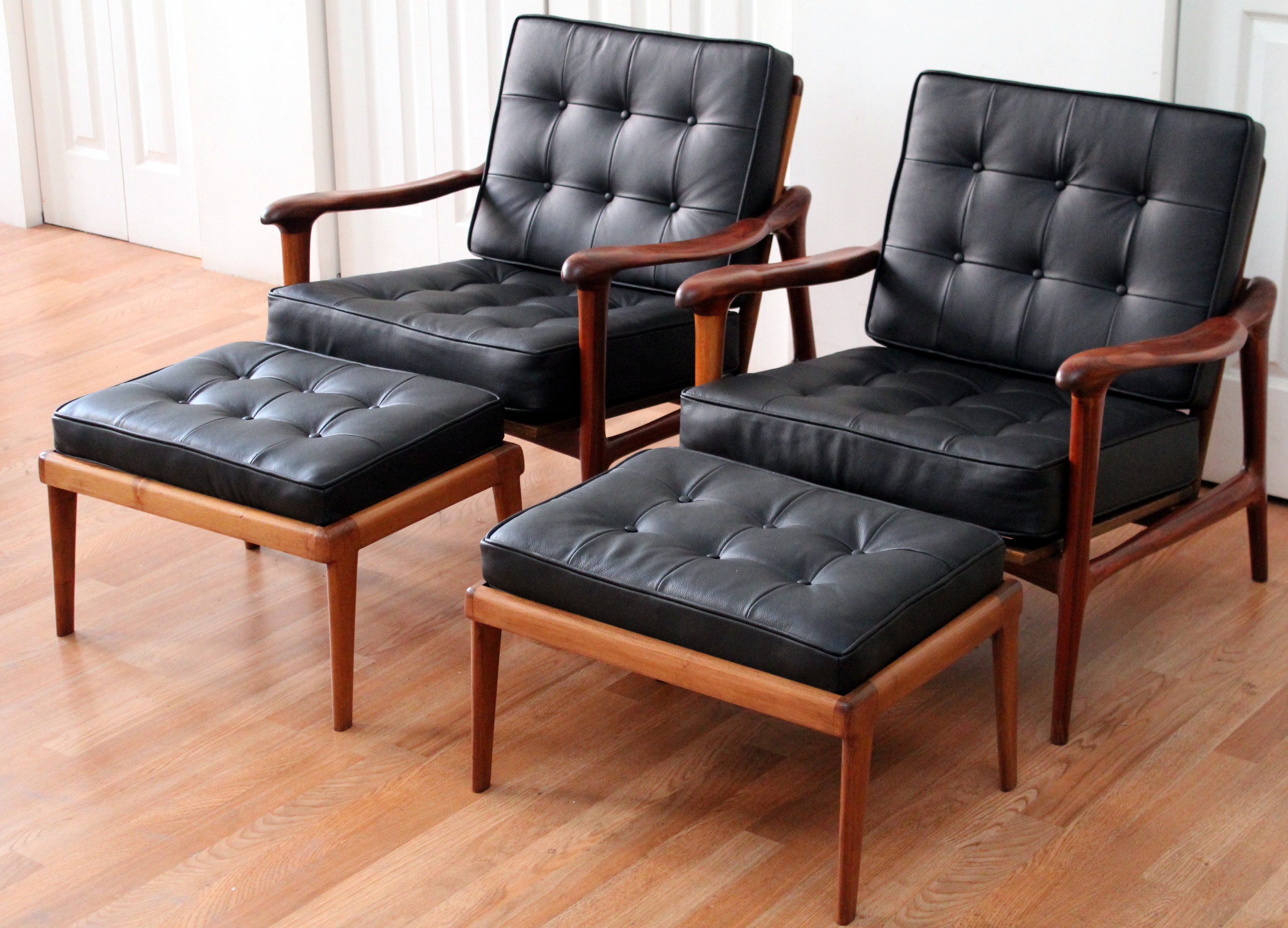 Black Leather Lounge Chair American Studio Craft Carved Sculptural Solid Teak Lounge Chairs Footstools