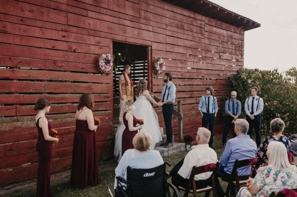 Wide photo of an Asheville elopement.