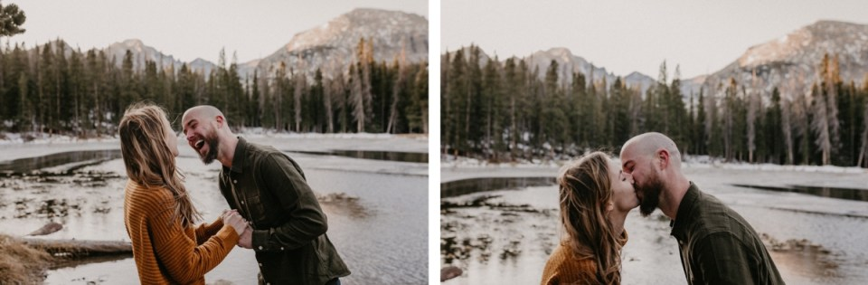 Couple laughing and kissing during their Rocky Mountain National Park engagement photos.