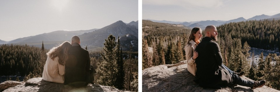 Couple sitting on edge of mountain during their Rocky Mountain National Park engagement photos.