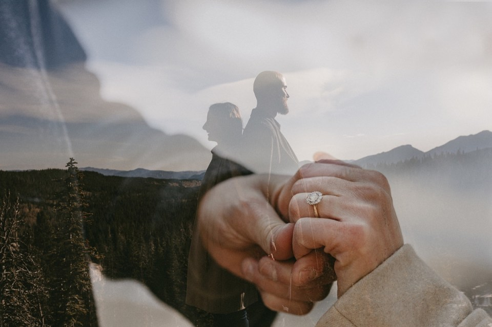 Double exposure photograph during Rocky Mountain National Park engagement photos.