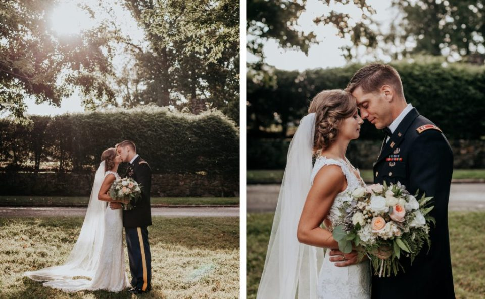 Portraits of bride and groom on their wedding day.