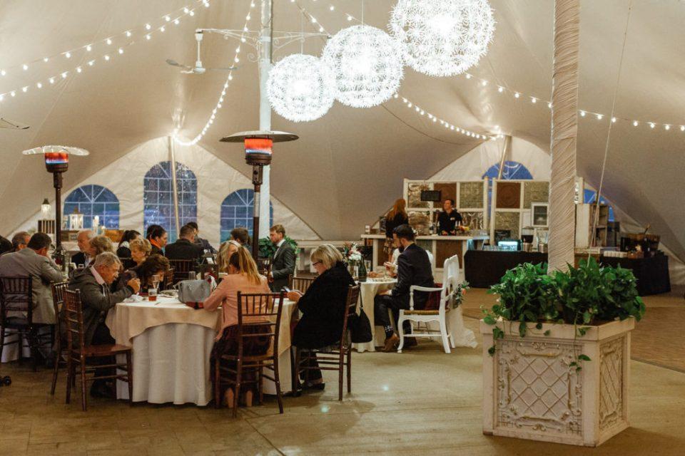 Wedding reception tent at Hidden River Events.