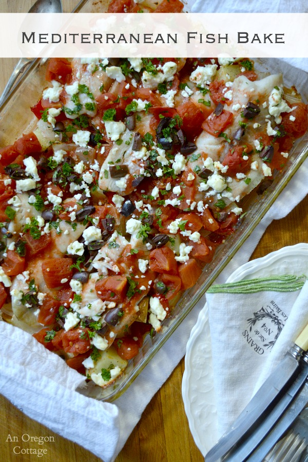 Mediterranean Fish Bake - a one-dish meal bursting with flavor from feta cheese, kalamata olives and garlic
