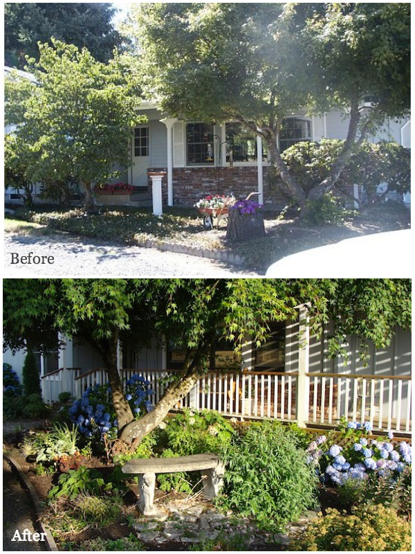 Front Porch Garden Before-After - An Oregon Cottage