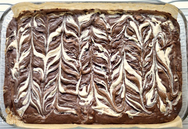 Quadruple chocolate decadent brownie baked with decorative top