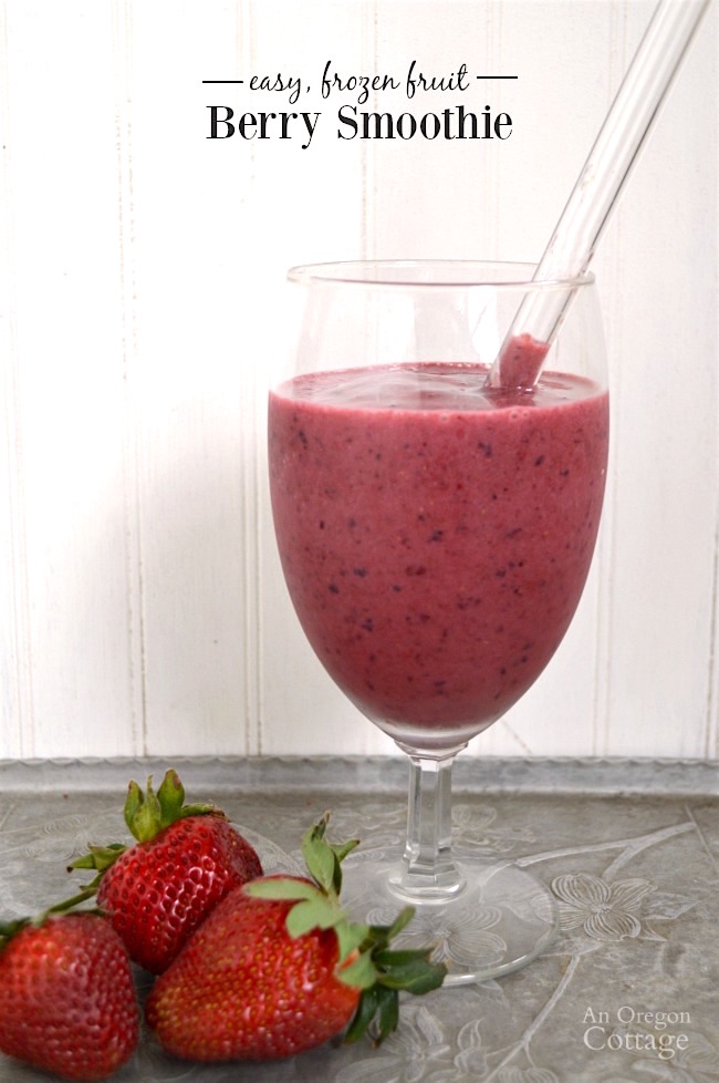 Easy berry smoothie made with frozen fruit