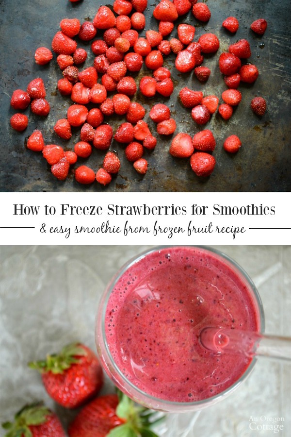 How to freeze strawberries for smoothies + super easy berry smoothie recipe from frozen fruit.