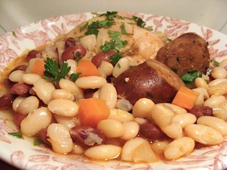 Easy slow cooker Chicken-Sausage Cassoulet - perfect comfort food meal.
