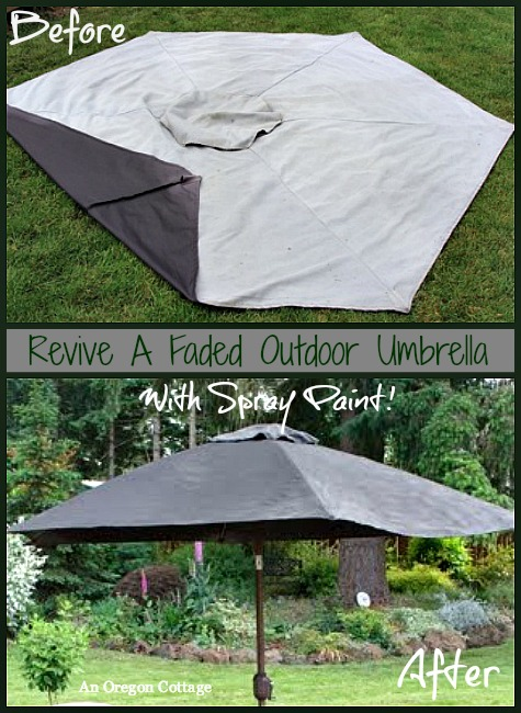 Revive a Faded Outdoor Umbrella with Spray Paint - An Oregon Cottage
