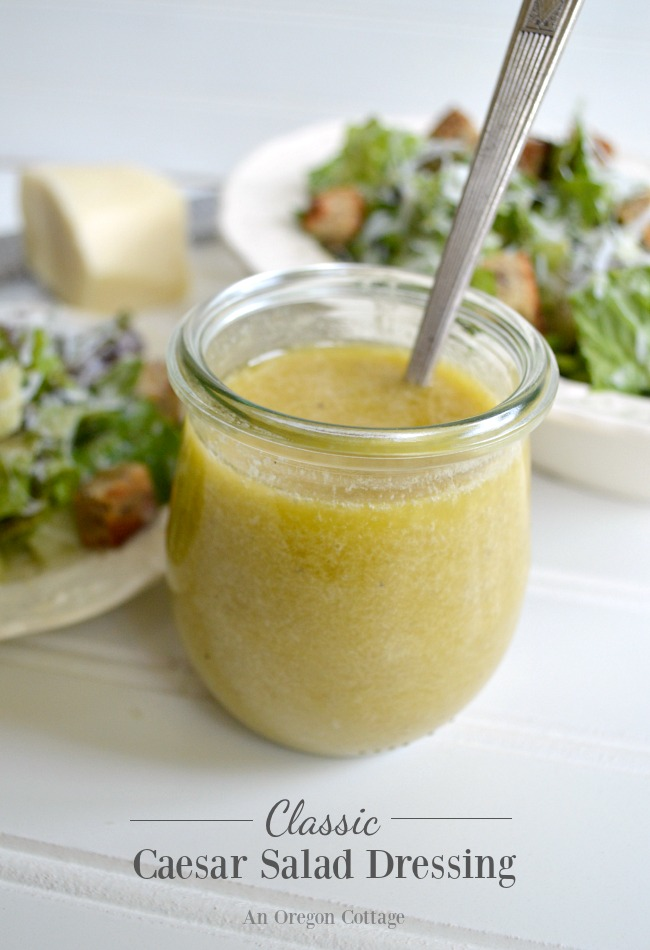 Easy to make Classic Caesar Salad Dressing-close to the original using pantry ingredients and ready to eat in 5 minutes! Add crazy-easy homemade croutons (recipe included!) and wow your family for dinner tonight with a delicious Caesar salad.