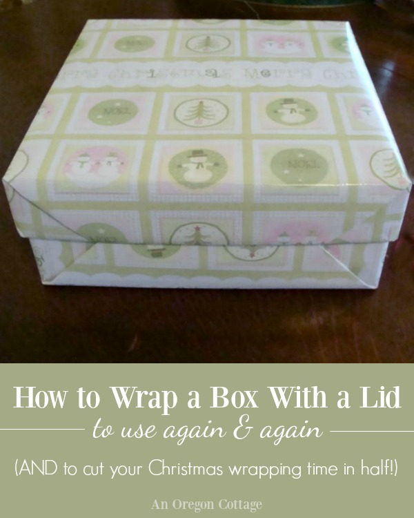 Tutorial for how to wrap a box with a lid to use again and again. Reusing these boxes every year also cuts your Christmas wrapping time in half!