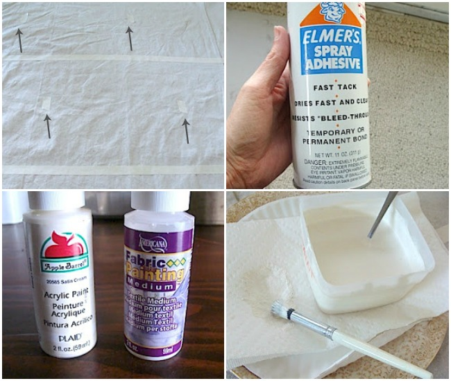 DIY Stencil drop cloth shower curtain-preparing to paint
