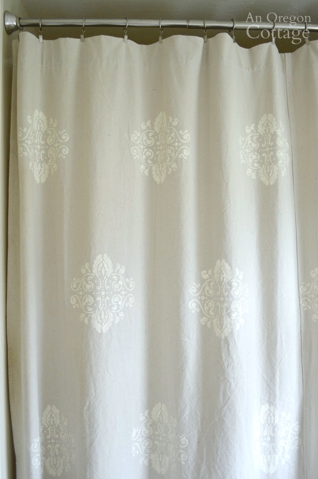 How To Stencil A Drop Cloth Shower Curtain  An Oregon Cottage