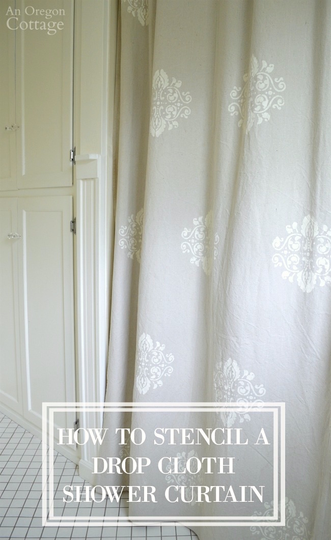 How to easily Stencil a Drop Cloth Shower Curtain to give your home a custom designer look for pennies.