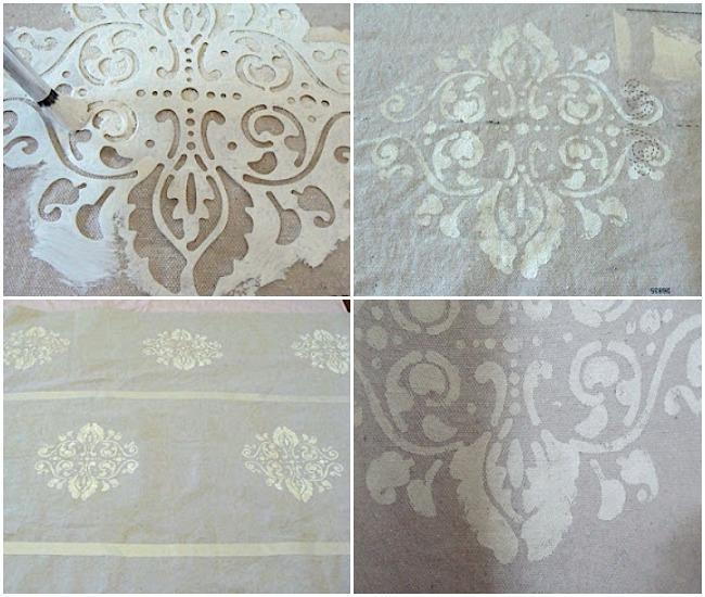 how to stencil a drop cloth shower curtain